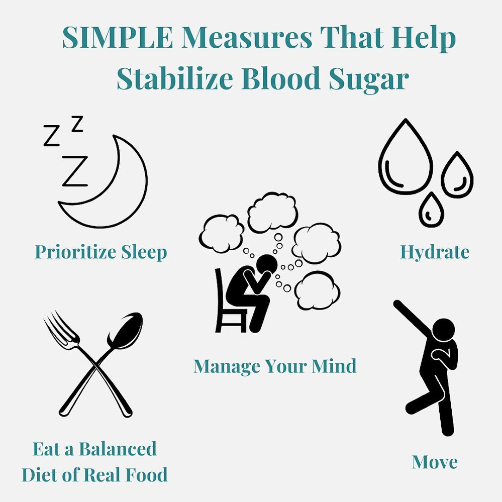 Stabilizing blood sugar for physical and mental health.